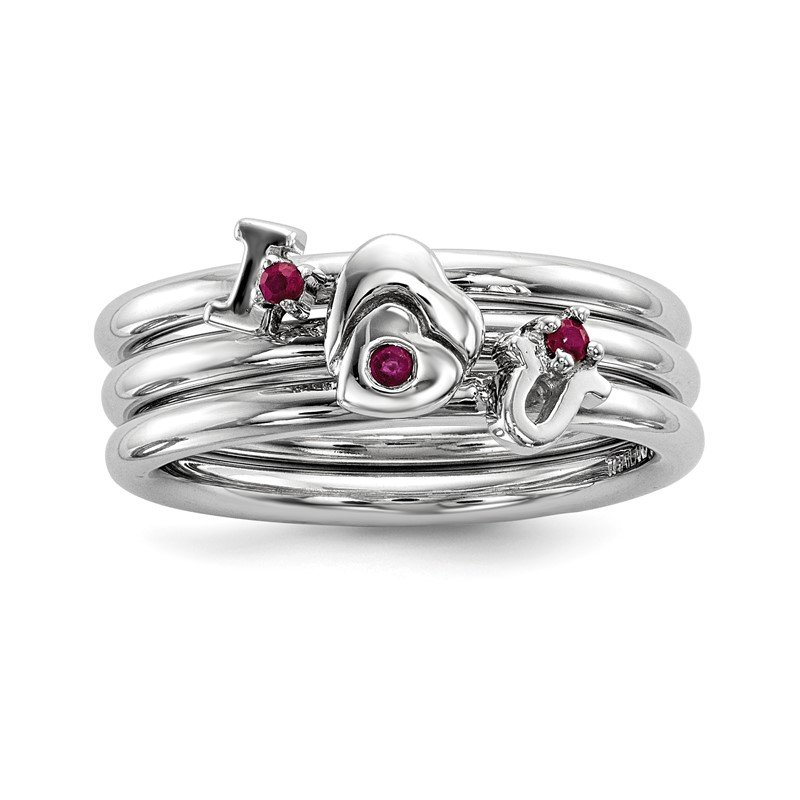 Quality Gold Sterling Silver Rhodium-plated Set of 3 Ruby Stacking ILOVEU Rings