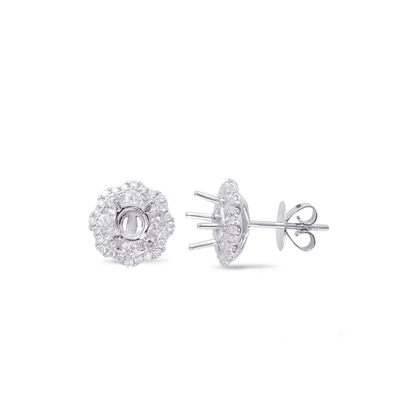 Briana Halo Diamond Earring For .60cttw Round