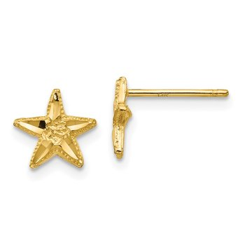 14K Diamond-cut Starfish Earrings