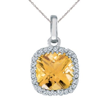 14K White Gold Citrine Cushion Pendant with Diamonds