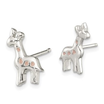 Sterling Silver Polished Enamel Giraffe Childs Post Earrings