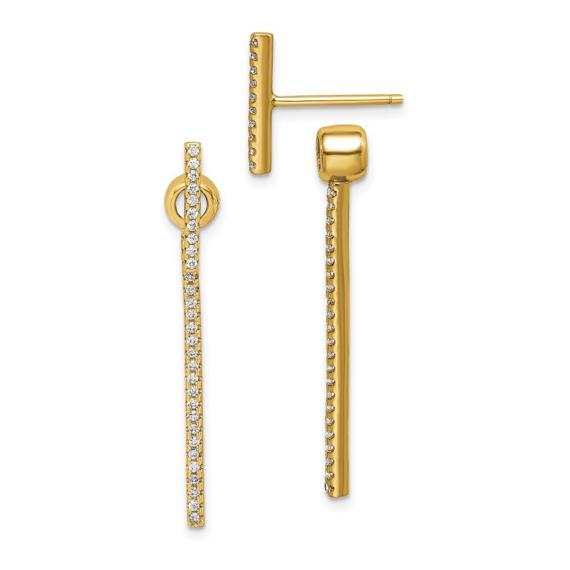 Quality Gold Sterling Silver Gold-tone CZ Bar Front and Back Earrings