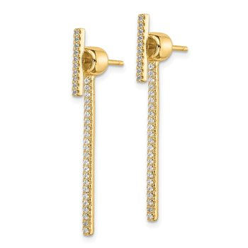 Sterling Silver Gold-tone CZ Bar Front and Back Earrings