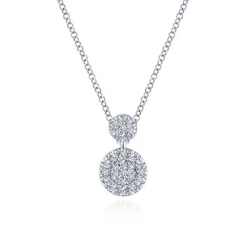 14k White Gold Fashion Necklace Double Diamond Disc Necklace