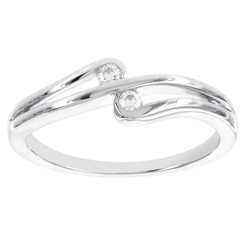 Sterling Silver Diamond Accent Double Stone Promise Ring