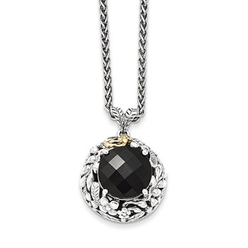 Sterling Silver w/14k Antiqued Onyx Necklace