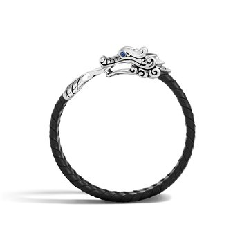 Legends Naga 10MM Station Bracelet in Silver, Leather