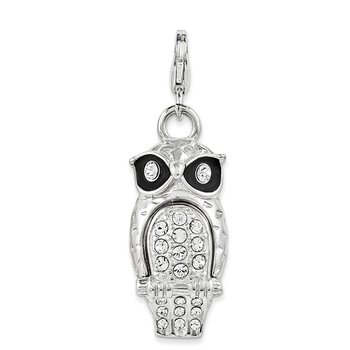 SterlingSilver Enamel Swarovski Element Owl w/Lobster Clasp Charm