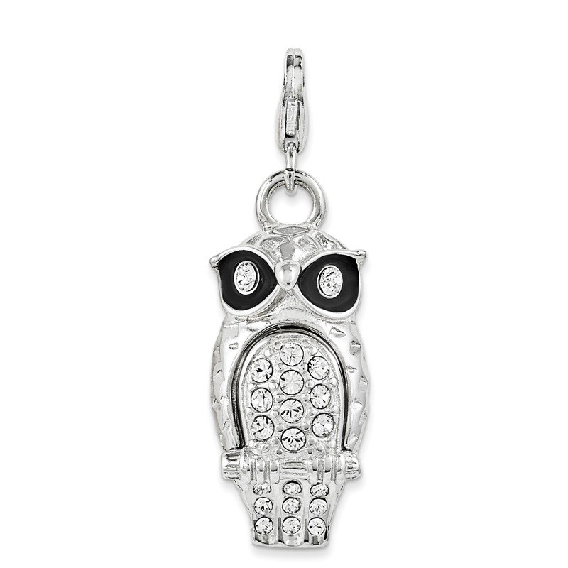 Quality Gold SterlingSilver Enamel Swarovski Element Owl w/Lobster Clasp Charm