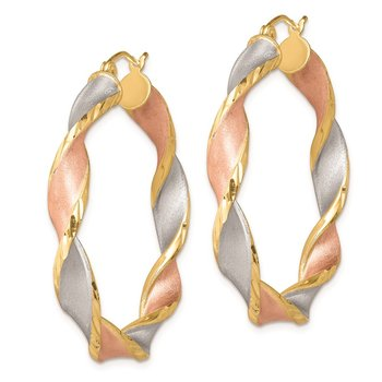 Sterling Silver RH-Plated Yellow/Rose Vermeil D/C 5mmTwisted Hoop Earrings