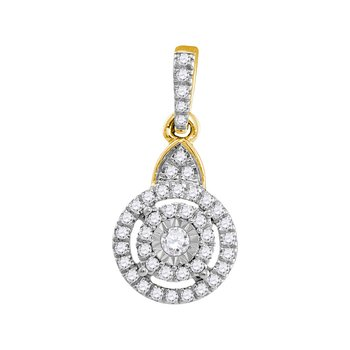 10kt Yellow Gold Womens Round Diamond Cluster Pendant 1/5 Cttw