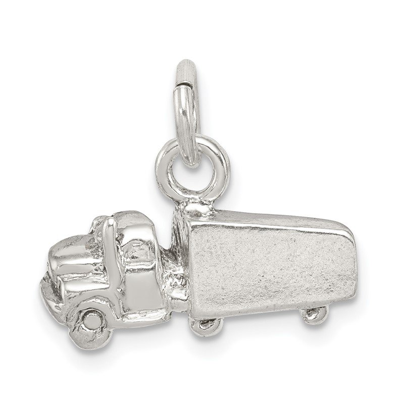Quality Gold Sterling Silver Semi with Trailer Charm