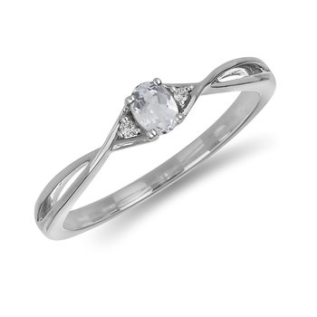 10K WG and diamond and White Topaz infinity style birthstone ring