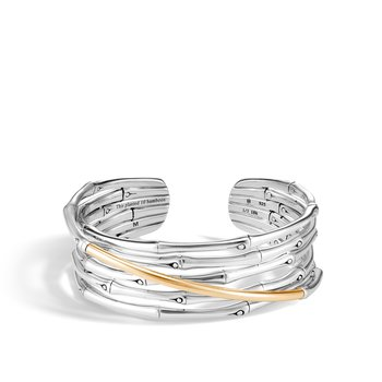 Bamboo Flex Cuff in Silver and 18K Gold