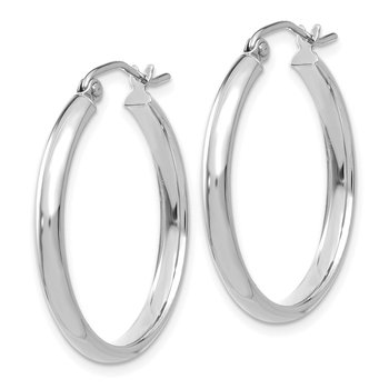 14k White Gold Polished Hoop Earring