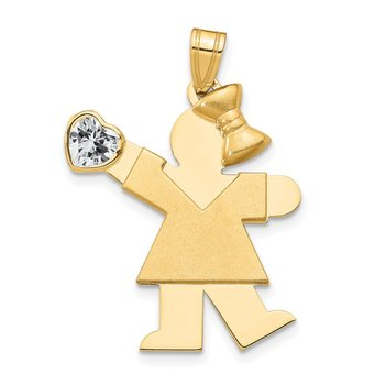 14k Girl with CZ April Birthstone Charm