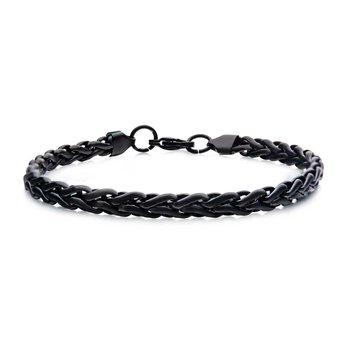 Stainless Steel Black Plated 6mm Spiga Matte Chain