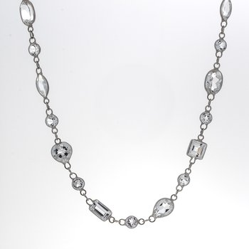 MULTI SHAPE WHITE TOPAZ NECKLACE