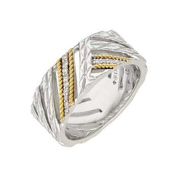 18kt & Sterling Silver Diamond Ring