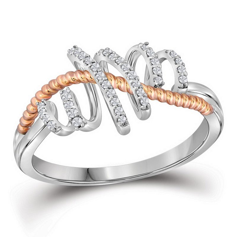 Kingdom Treasures 10kt White Gold Womens Round Diamond Pink-tone Rope Spiral Band Ring 1/10 Cttw