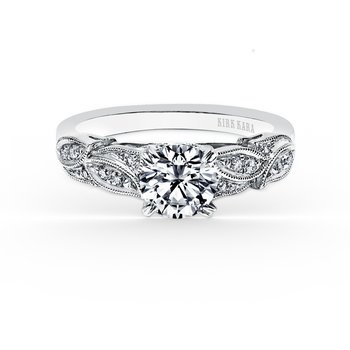 Diamond Leaves Engagement Ring