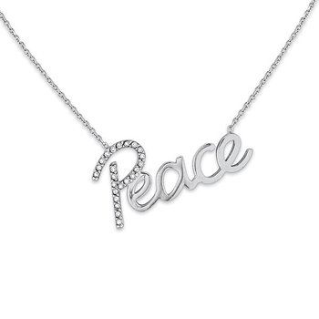 "Diamond ""Peace"" Necklace in 14k White Gold with 23 Diamonds weighing .10ct tw."