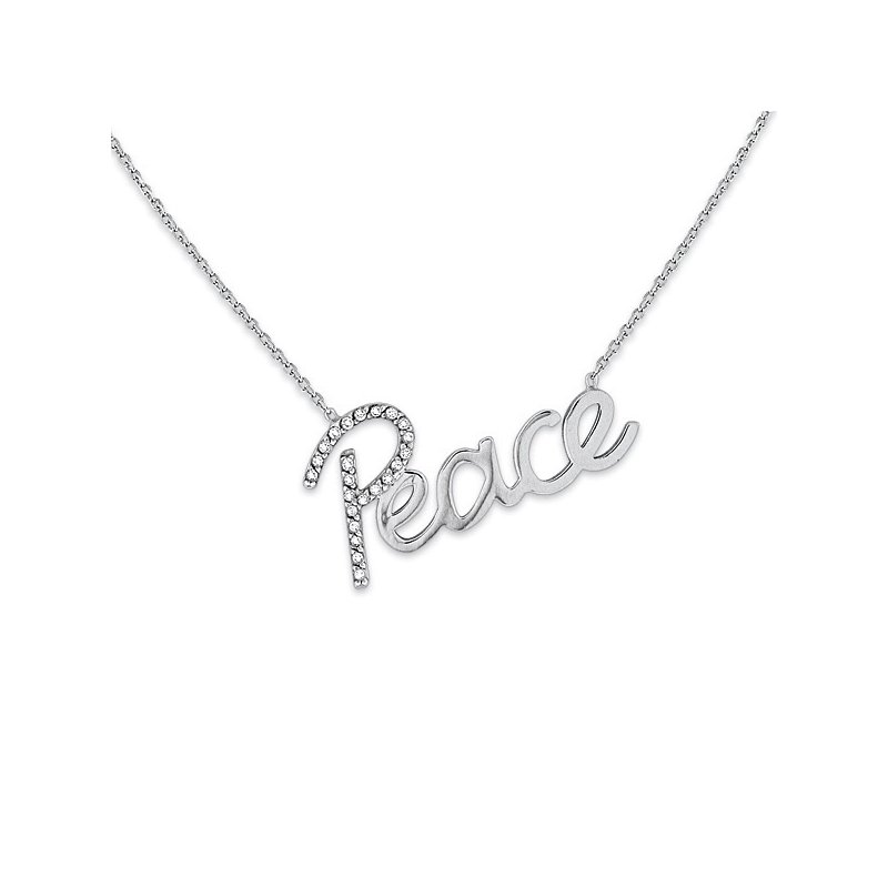 "KC Designs Diamond ""Peace"" Necklace in 14k White Gold with 23 Diamonds weighing .10ct tw."