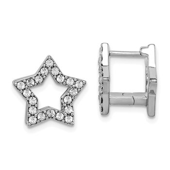 Sterling Silver RH-plate Yellow Enamel Star Crystal Hinged Earrings
