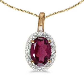 14k Yellow Gold Oval Rhodolite Garnet And Diamond Pendant