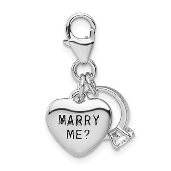Sterling Silver w/ CZ MARRY ME Heart and Ring Lobster Clasp Charm