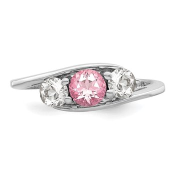 Sterling Silver Survivor Collection Clear & Pink Swarovski Topaz Sue Ring