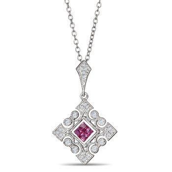 Ruby And Diamond Pendant In 925 Sterling Silver