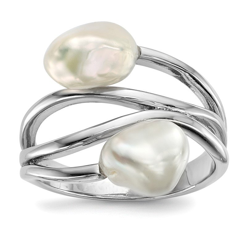 Quality Gold Sterling Silver RH 7-8mm White Baroque FWC Pearl Ring
