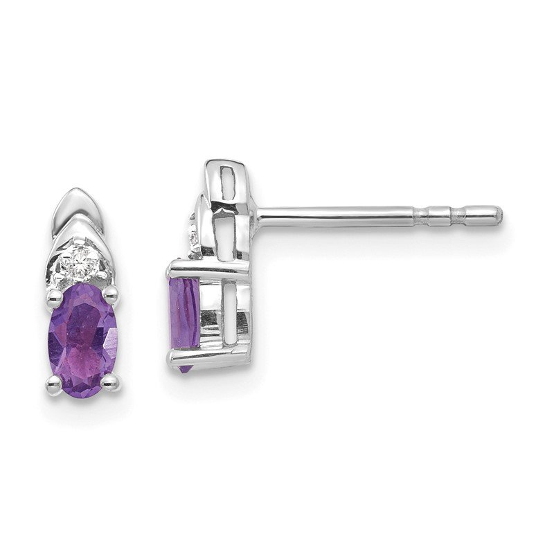 Quality Gold 14k White Gold Amethyst and Diamond Post Earrings