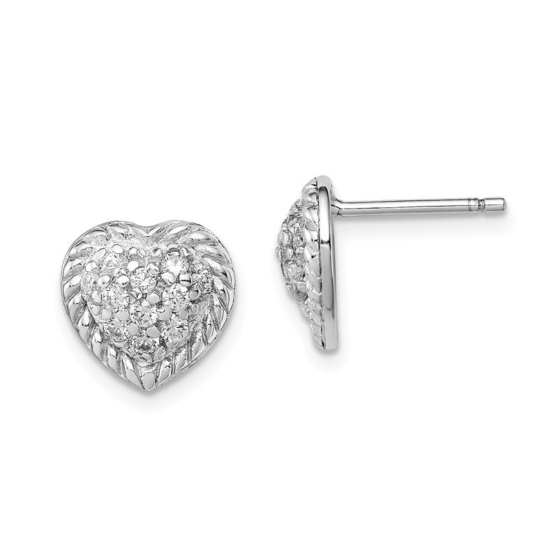 J.F. Kruse Signature Collection Sterling Silver Rhodium Plated CZ Heart Post Earrings