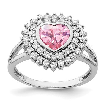 Sterling Silver Rhodium-plated 6mm Pink Heart CZ Ring