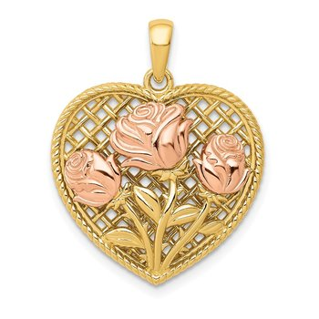 14K Two-tone Polished Flowers in Heart Pendant