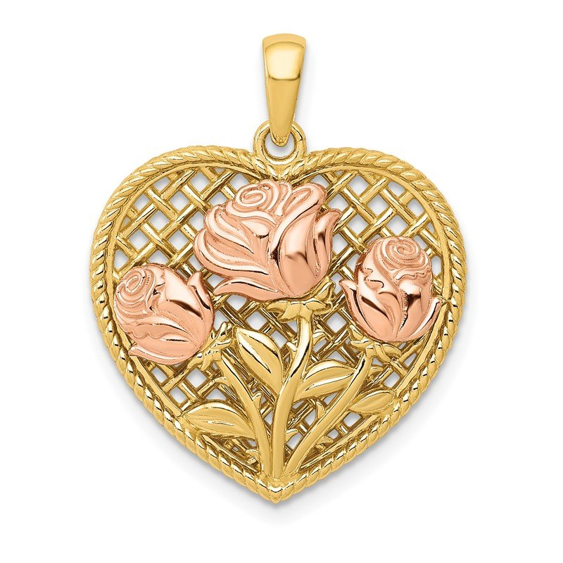 Quality Gold 14K Two-tone Polished Flowers in Heart Pendant