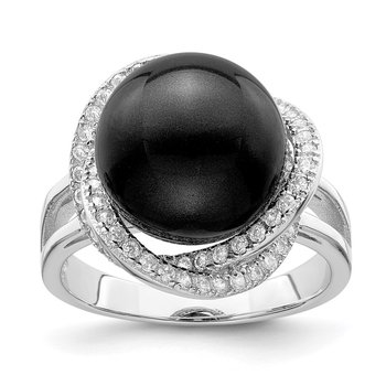 Sterling Silver Majestik Rh-pl 12-13mm Blk Imitation Shell Pearl & CZ Ring