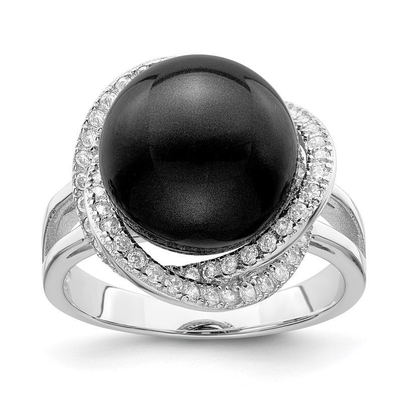 Quality Gold Sterling Silver Majestik Rh-pl 12-13mm Blk Imitation Shell Pearl & CZ Ring