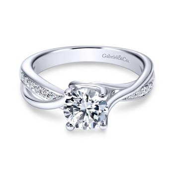 14k White Gold Pave Diamond Bypass Engagement Ring