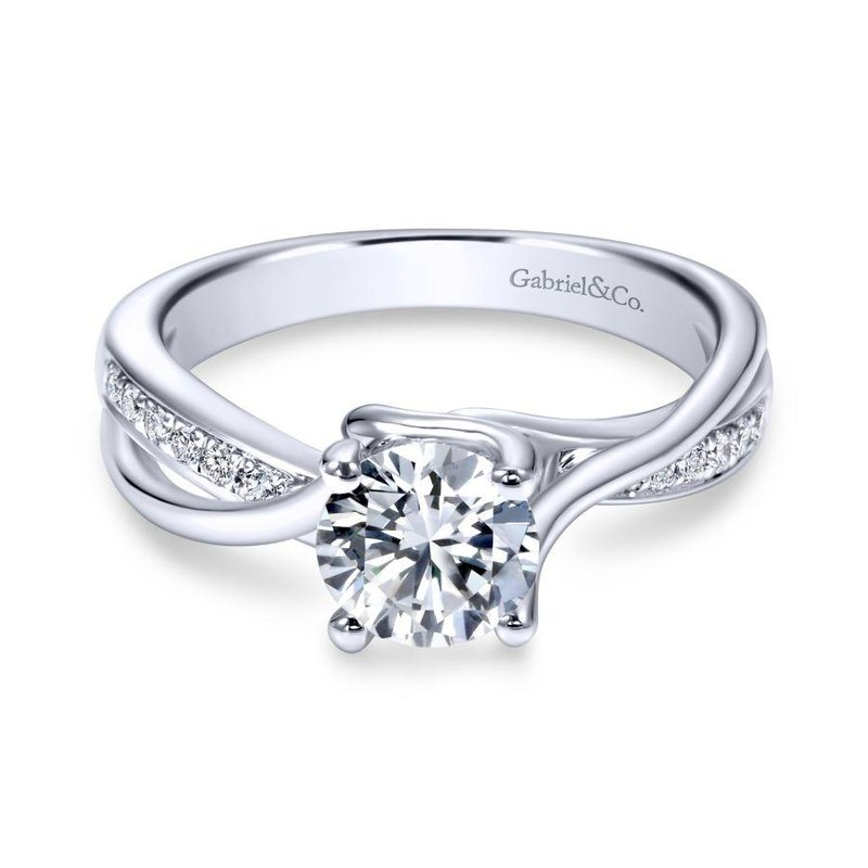 Gabriel Bridal Bestsellers 14K White Gold Round Bypass Diamond Engagement Ring