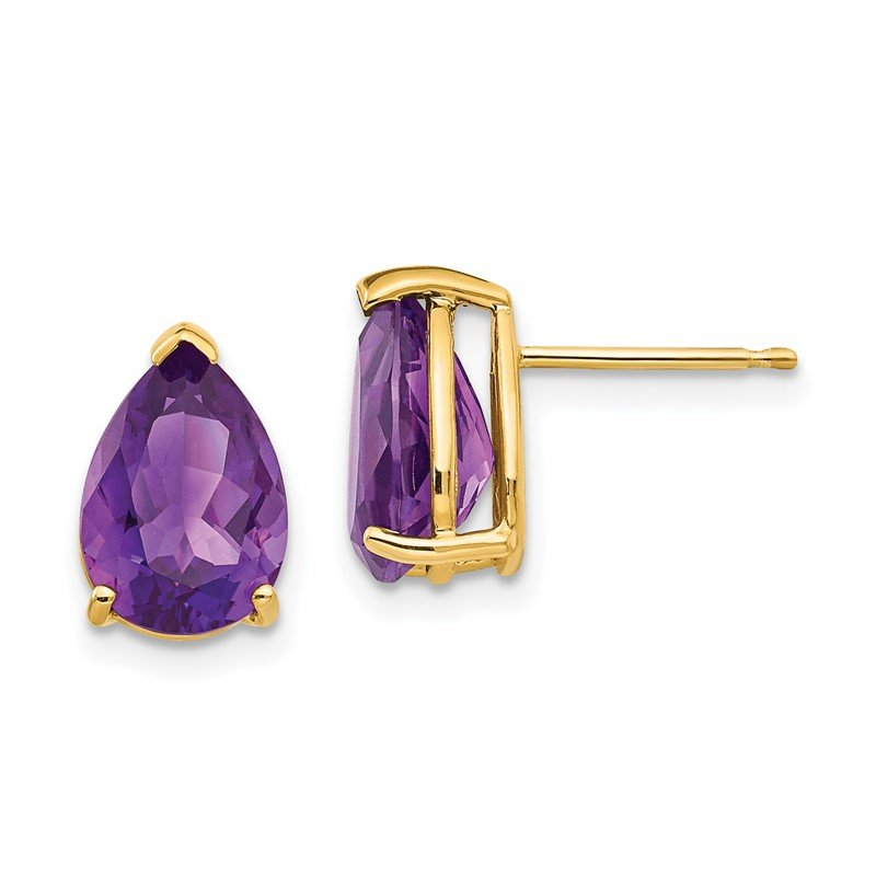 Quality Gold 14k 10x7mm Pear Amethyst Earrings