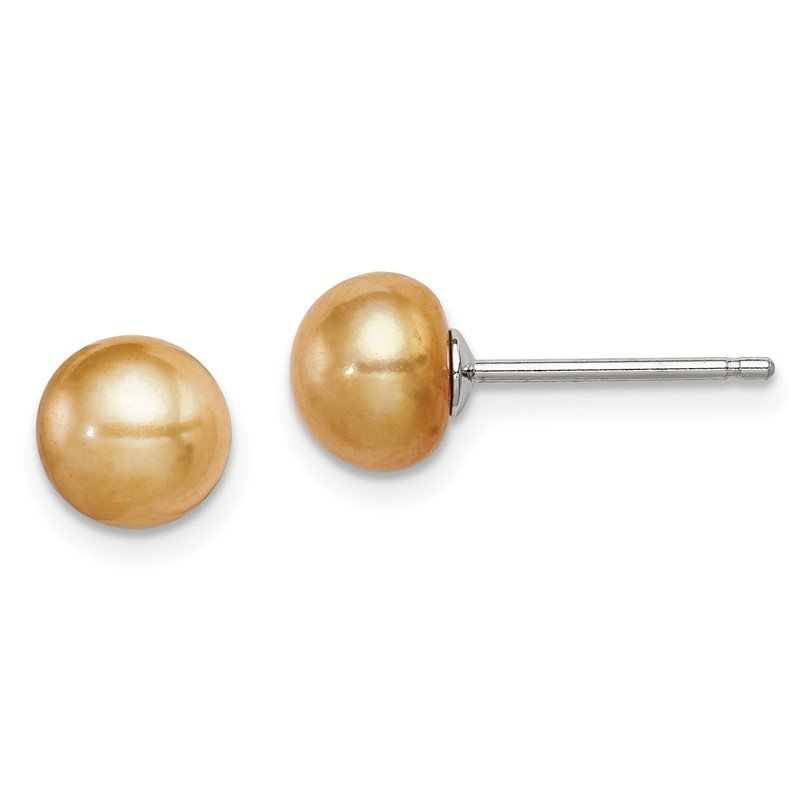 Quality Gold Sterling Silver 6-7mm FW Cultured Button Pearl Yellow Earrings