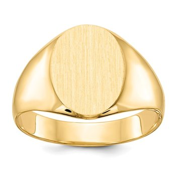 14k 13.0x11.5mm Closed Back Mens Signet Ring