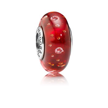 Red Effervescence Charm, Murano Glass Clear Cz