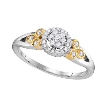 10kt Two-tone White Gold Womens Round Diamond Cluster Millgrain Bridal Wedding Engagement Ring 1/4 Cttw