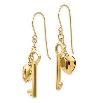 14K Gold Puff Heart Lock and Key Earrings