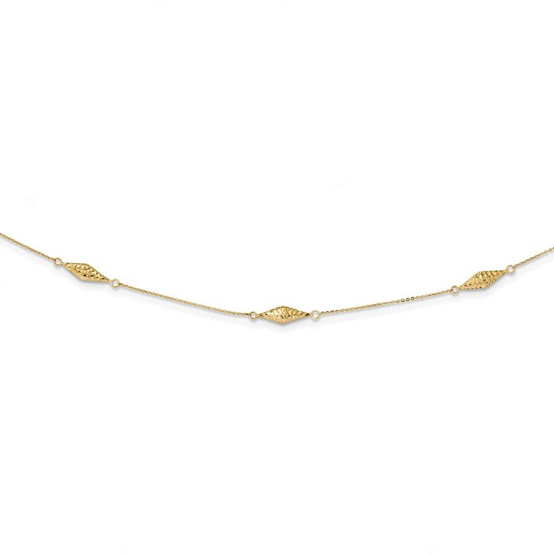 Quality Gold 14k Polished and D/C Fancy Beaded 18in Necklace