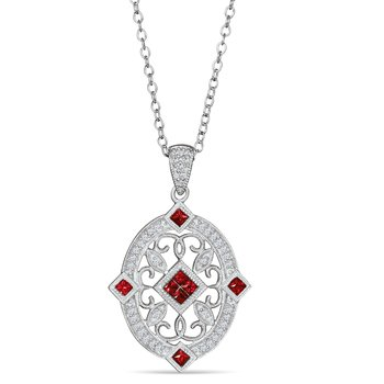Sterling Sliver vintage style pendant with diamonds (0.11ct) and rubies (0.42ct)